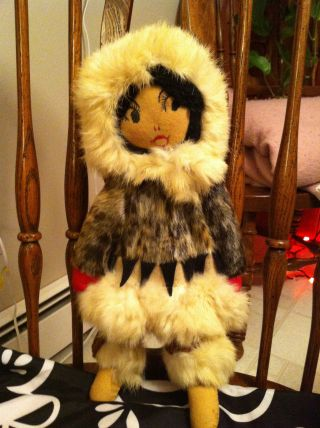 Alaska Native Eskimo Doll Seal Skin W/fur Headdress & Skirt 15