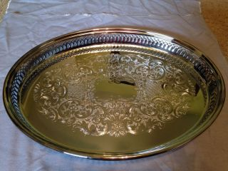 Never Reed & Barton Silverplated Oval Gallery Tray With Silver Keeper photo
