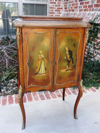 Exquisite Antique French Vernis Martin Painted Music Cabinet Ormolu Accent 19thc photo