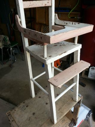 Vintage Primitive Antique Wood Shabby Country Baby Doll High Chair For Decor photo