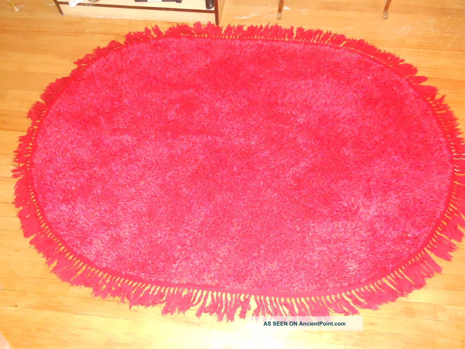 Rya Rug Red Oval 100% Cotton 4x6 Feet Mid Century Moderne Vintage Red Red Red Medium (4x6-6x9) photo
