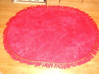 Rya Rug Red Oval 100% Cotton 4x6 Feet Mid Century Moderne Vintage Red Red Red photo