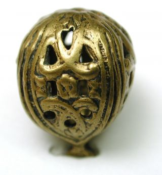 Antique Brass Perfume Button Ball Filigree Cage Design 1890s photo