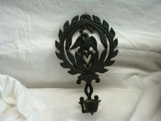 Vintage Cast Iron Eagle Trivet T - 13 With A Candle Holder photo