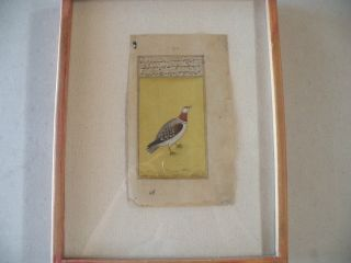 Antique Islamic,  Persian,  Poem Page,  Hand Written,  Hand Painted,  Bird Painting photo