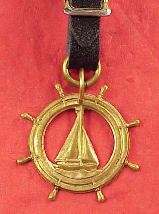 Vintage Brass Ships Wheel Sailboat Sailing 1 3/4 In Pocket Watch Fob Keychain photo