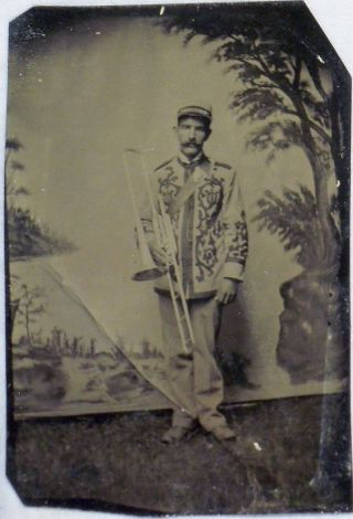 Antique Tintype Of Trombone Player In Fancy Band Uniform Late 1860s photo