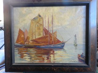 Old Oil Painting Marine Scene Signed L.  V.  Ferenczy Hungary photo