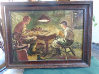 Old Oil Painting Shoemakers Scene Signed L.  V.  Ferenczy Hungary photo