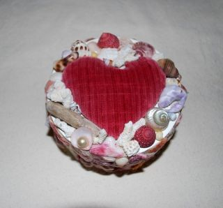 Sailor Valentine Sea Shell Folk Art Primitive Heart Pincushion Collectable photo