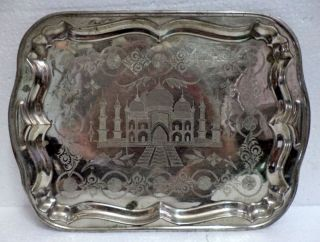 Antique Old Islamic Persian Hand Calligraphy Taj Mahal Print Brass Serving Tray photo