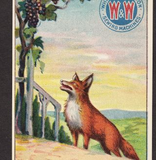 Wheeler & Wilson Sewing Machine Fox And The Grapes Fable Victorian Ad Trade Card photo