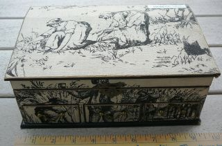 Toleware Black & Beige Cloth Covered Wood Chest Box W/ 3 Drawers 9 X 5