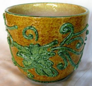 Rare Antique Italian Yellow Glazed Italy Jardiniere W/ Green Spinach Leaves photo