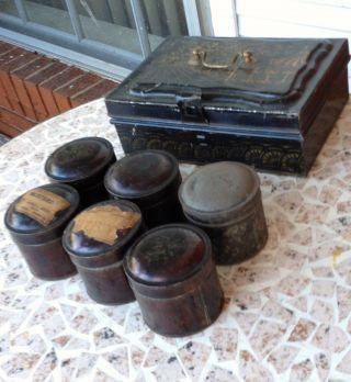 Antique Tole Stencil Tin Spice Chest Druggist Box Set George L Heiges Manheim Pa photo