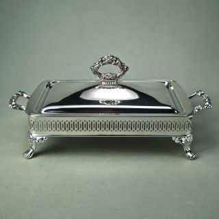 Silver Casserole Lid Cover Rectangular Shape Pierced Sides Paw Feet Vintage photo