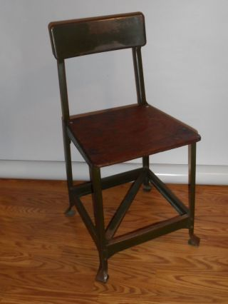 Vintage 1940s Metal Industrial/factory Chair With Wooden Seat From Nc Mill photo