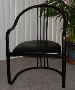 Striking Designer Style Art Deco Revival Modern Industrial Ribbon Arm Chair photo