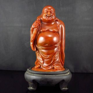 Hand - Carved Chinese Shoushan Stone Statue - Big Belly Laughing Buddha Nr photo