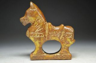 Archaize Chinese Classical Old Jade Carved Statues - - - Horse & H S Culture 8756 photo