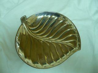 Vtg Silverplate Leaf Shape Tray Mid Century Modern 1950s Eames Era Form photo