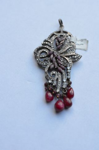 Antique Sterling Silver And Ruby Pendant,  White Sapphire & Rubies,  Semi Precious photo