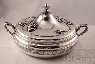 Antique Van Bergh Silverplate Art Nouveau Repousse Covered Casserole photo