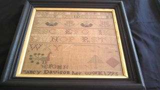 Late 18th Century Framed Sampler By Nancy Davidson Baildon England 1795 photo