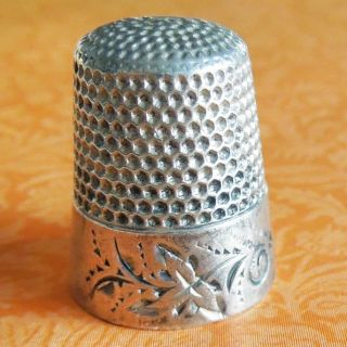 Vintage Waite Thresher Co Folk Art Leaf Scroll Sterling Silver Sewing Thimble photo