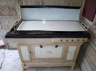 Antique Cook Stove Cast Iron Wood Burning Cream Enamel Renown Usa photo