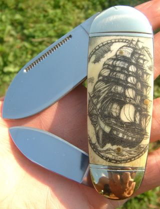 Nautical Scrimshaw Art By Shar,  Tall Ship,  Compass,  Folding Knife/knives photo