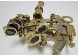 Working 4 In Slow Motion Sextant In Box Wood Handle Mirror Adjusters photo
