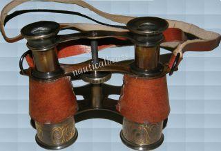 1+2 Free Brass Leather Binocular Round Pocket Telescope Vintage Replica photo