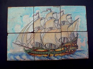 Fantastic Colorful Art Deco 6 Tiles Tableau Depicting A Galleon,  Ca.  1920 Ad. photo