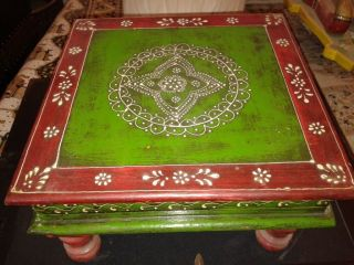 Decorative Classical Wooden Small Stool Sitting Emboss Painting Home Decor India photo