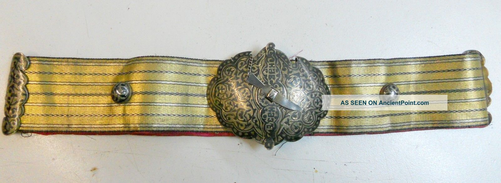 Wow Antique Silver Niello And Gold Tinsel Russian Belt Russia photo