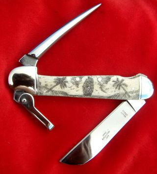 Nautical Scrimshaw,  Ship,  Palm Trees,  Marlin Spike,  Rigging Folding Knife/knives photo