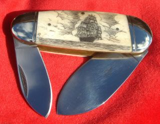 Authentic Nautical Scrimshaw Art,  Tall Ship,  Two Blade,  Folding Knife/knives photo