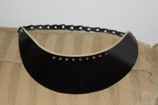 Antique Vintage Telegraph Visor Eye Shade W/ Black Leather Link Chain Band photo