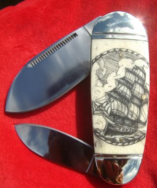 Nautical Scrimshaw Art By Shar,  Tall Ship,  Lighthouse,  Folding Knife/knives photo