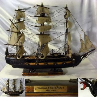 Vintage Wooden Sail Ship / War Ship Model Of Fragata Espanola - 1780 - Spain photo