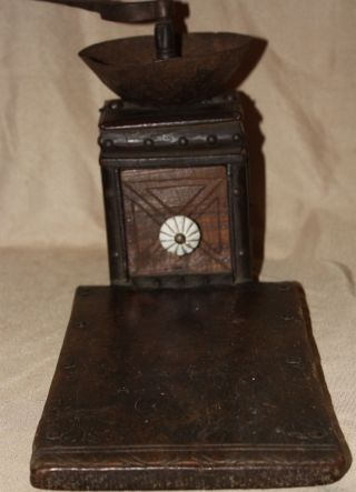 Early 19th C Ottoman Turkish Primitive Wooden Coffee Grinder W/table Hard Wood photo