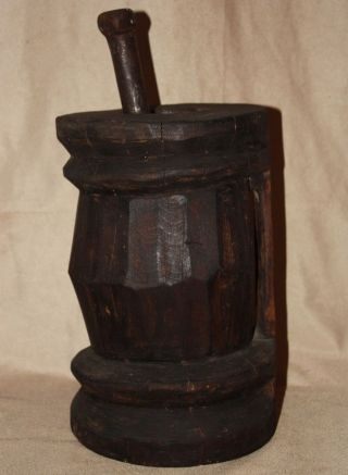 Ottoman Turkish Wooden Mortar Carved From One - Piece Wood W/ Iron Pestle photo