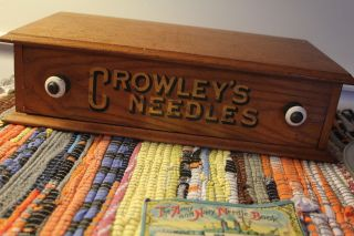 Antique Sewing Crowley ' S One Drawer Needle ' S Store Display Box photo