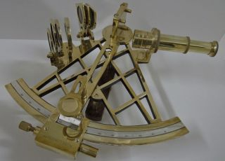 Ross London Brass 10in Slow/fast Motion Sextant With Box photo