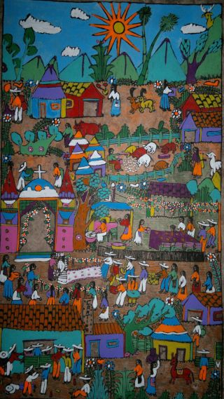 Mexican Amate Bark Painting Latin Native Ethnic Folk Art Wall Hanging Home Decor photo