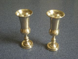 Two Antique Sterling Silver Judaica Kiddush Cups photo
