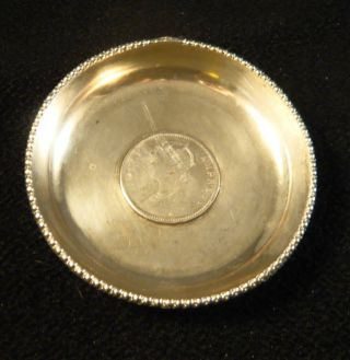 Antique British Empress Victoria Colonial India 1 Ruppee 1888 Silver Coin Dish photo