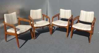 Four Vtg Danish Modern Mid Century Dining Room Arm Chairs Castors Walnut Teak photo