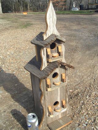 Three Story Birdhouse Recycled Old Barnwood Handmade Usa 29 Inches photo